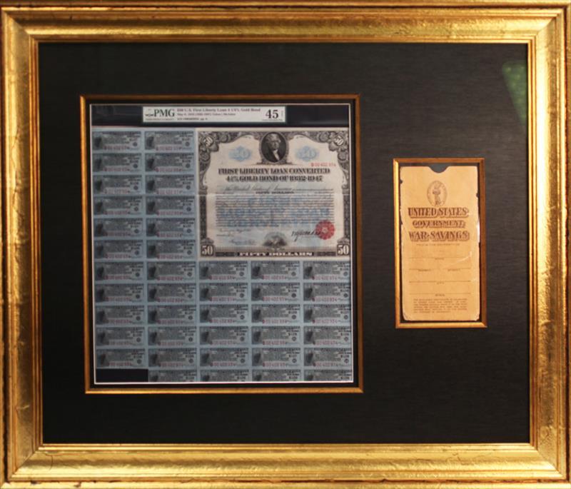$50 US FIRST LIBERTY LOAN 4 1/4% GOLD BOND WITH WAR SAVINGS BONDS PMG