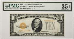 $10 1928 Gold Certificate  PMG CVF 35 EPQ A18073850