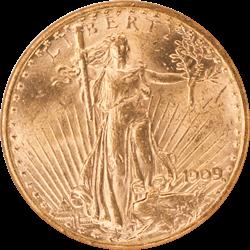 1909-S Saint St. Gaudens $20 Gold Double Eagle NGC MS 61