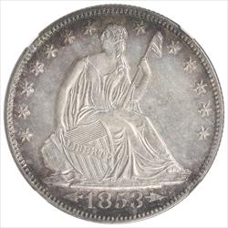1853-O Seated Liberty Half Dollar NGC  UNC Details Arrows and Rays