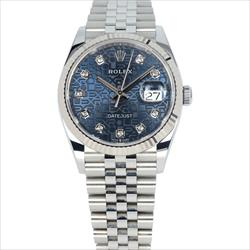 Rolex 36mm Datejust 126234  Blue Jubilee 10 Diamond Dial With 2019 Card and Box