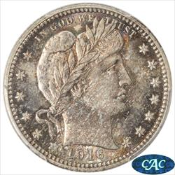 1916-D Barber Quarter PCGS MS65 CAC Colorful toned surfaces