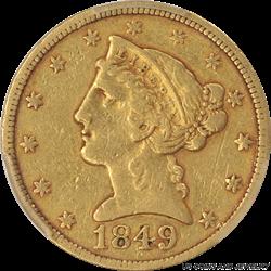 1849-C Liberty Head $5 Gold Half Eagle PCGS  VF35 Rare Charlotte Branch Mint Gold