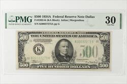1934-A $500 Federal Reserve Note, Dalas, Fr. 2202-K SN K00037273A PMG VF 30