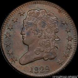 1829 Classic Head Half Cent PCGS MS-64 BN