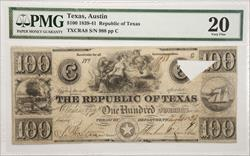 1839-41 $100 Republic of Texas Note PMG VF-20 S/N 988
