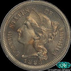 1883 Three Cent Nickel PCGS PR65 CAC - First Generation PCGS Holder