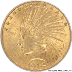 1914-S Indian Head $10 Gold Eagle Old Green Holder PCGS AU 58