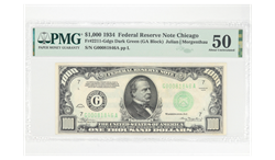 1934 $1000 FEDERAL RESERVE NOTE CHICAGO G0081846A PMG AU50