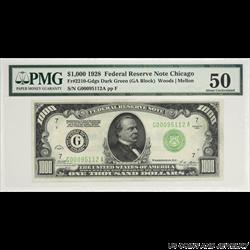 1928 $1000 Federal Reserve Note Chicago PMG   AU 50 FR#2210-GDGS Dark Green (GA Block) S/N G00095112A