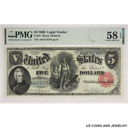 1880 $5 Wood Chopper Legal Tender Note PMG CAU 58 EPQ FR#81 SN A44174744