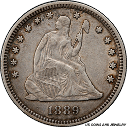 1889 Seated Liberty Quarter PCGS XF45 Low Mintage of Only: 12,000