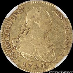 Spain: 1794-M M.F. Carol IIII 2E Gold NGC VF30 Colonial Period Gold