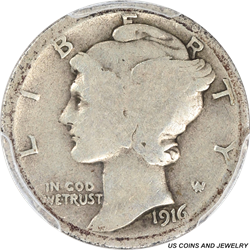 1916-D Mercury Dime, Key Date, PCGS Good 4