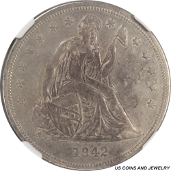 1842 Seated Liberty Silver Dollar NGC AU55
