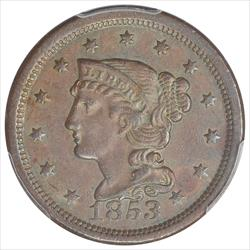 1853 Braided Hair Large Cent PCGS AU53