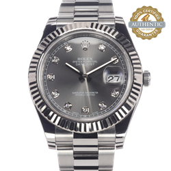 Rolex 41mm Datejust 116334 18K WG Bezel 10 Diamond Dark Rhodium With Box Tags and books