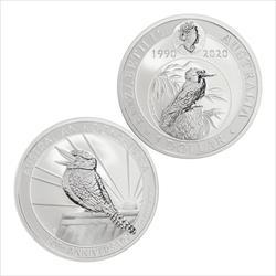 30th Anniversary Australia Kookabura 1oz .9999 Fine Silver