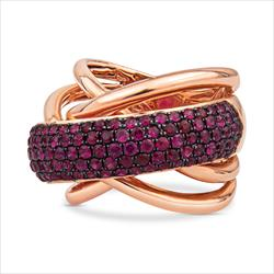 Effy Brand Natural Ruby and 14k Rose Gold Criss Cross Ring