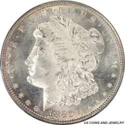 1880-S Morgan Silver Dollar PCGS MS66 Frosty White Satin Luster