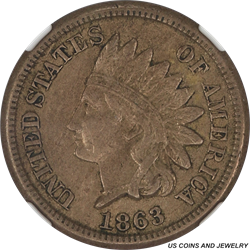 1863 INDIAN 1C NGC AU 53