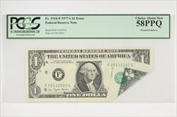 1977A $1 Fr. 1910-F Federal Rerseve Note, Fold Over Error PCGS 58 PPQ