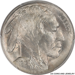 1918 Buffalo Nickel PCGS MS 64 Rolling Glossy Matt Luster over a Steel Grey