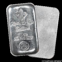 Fleur de Lis 10oz .999 Silver Poured Bar