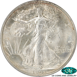 1941-D Walking Liberty Half Dollar Rattler Holder PCGS and CAC MS64