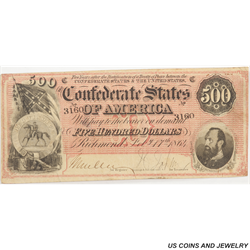 1864 $500 Confederate States of America T-64 SN 3160 Nice Extra Fine
