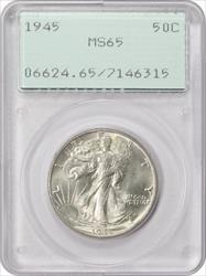 1945 Walking Liberty Half Dollar MS65