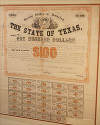 STATE OF TEXAS SIX PER CENT BONDS $100