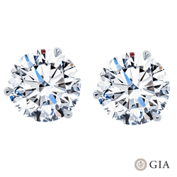 GIA CERTIFIED 5.39CTTW ROUND DIAMOND STUDS