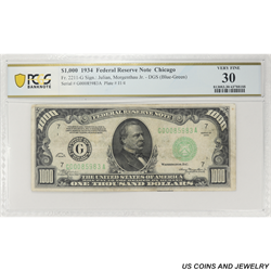 1934 $1000 Federal Reserve Note, Fr. 2211-G, Chicago, PCGS 30 Very Fine