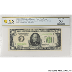 1934 $500 Federal Reserve Note,  Fr. 2201-B, New York, PCGS  53 About Uncirculated