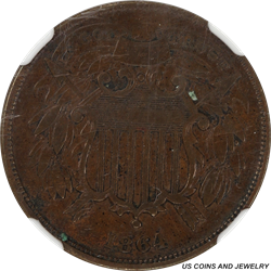 1864  Small Motto Two Cent Piece NGC VF 30 BN