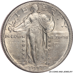 1917-P  Type 2 Standing Liberty Quarter Uncertified, Choice Uncirculated - White