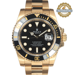 Rolex 40mm Submariner Date 116618N 18K Y&G on Black Complete