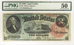 1869 $2 Legal Tender PMG AU50 FR#42 Allison Spinner S/N E9968680