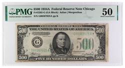 1934-A $500 Federal Reserve Note, SN G00367025A PMG AU 50, Fr-2202-G