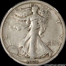 1921-S Walking Liberty Half Dollar NGC VF35
