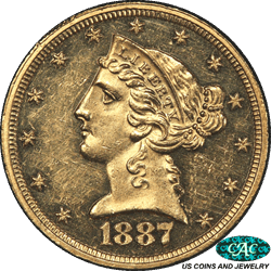 1887 Liberty Head $5 Gold Half Eagle PCGS and CAC PR60CAM Only 7 graded Higher by PCGS