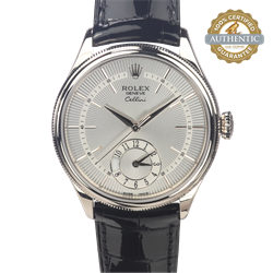 Rolex 39mm Cellini Ref/50529 18K WG Patent Leather Strap Box and Card  (2020)