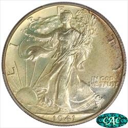 1941 Walking Liberty Half Dollar PCGS and CAC PR67