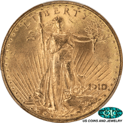1910-D St. Gaudens $20 Gold Double Eagle PCGS and CAC MS64
