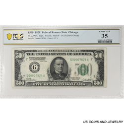 1928 $500 Federal Reserve Note, Fr. 2200-G, Chicago,   PCGS 35 Choice Very Fine