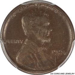 1921-S Lincoln Cent Wheat - Super Nice Brown Surface - PCGS 55 BN - Super Coin