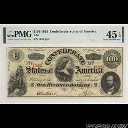 1863 $100 Confederate States of America Note PMG CEF 45 EPQ T-56 S/N 1342