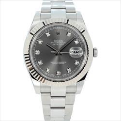Rolex 41mm Datejust 116334 Dark Rhodium 10 Diamond Box and Card