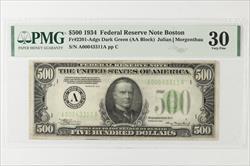 1934 $500 Federal Reserve Note, Boston, Fr. 2201-A SN A00043311A  PMG VF 30